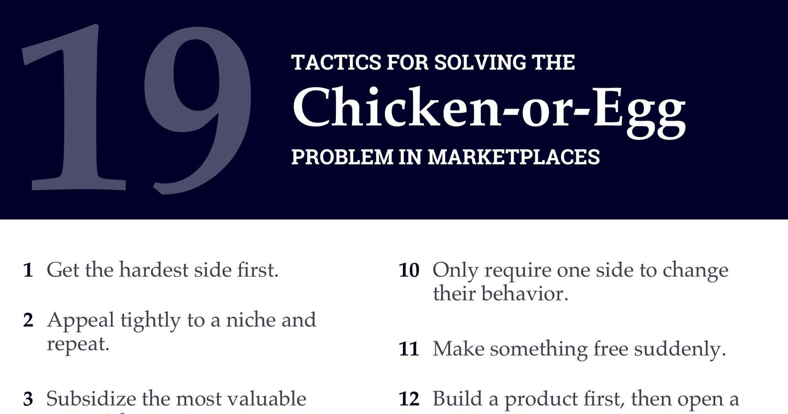 19 Tactics to Solve the Chicken-or-Egg Problem and Grow Your Marketplace
