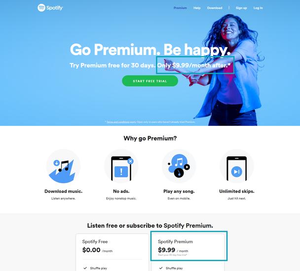 Ценообразование: разбор тарифной страницы Spotify