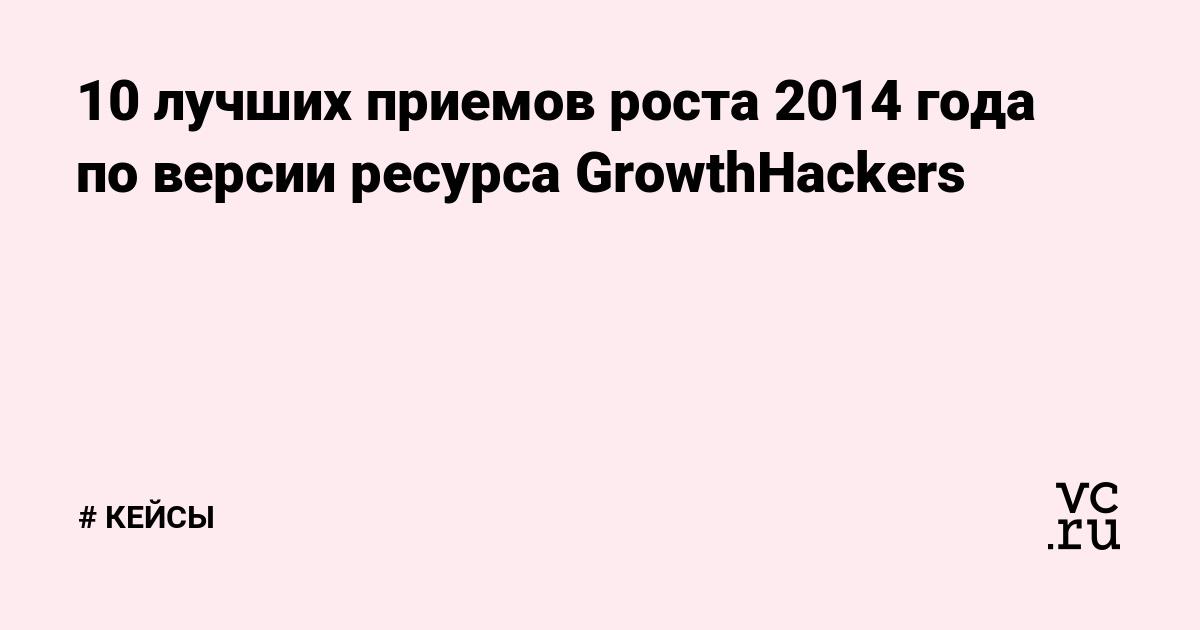 10 лучших приемов роста 2014 года по версии ресурса GrowthHackers