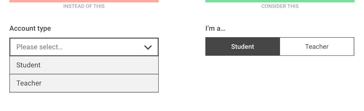 Dropdown alternatives for better (mobile) forms